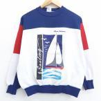 M/古着 長袖 スウェット 80s ヨット クルーネック マルチカラー 白他 ホワイト 21mar01 中古 メンズ スエット トレーナー トップス