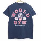 M/古着 半袖 Tシャツ ゴリラ ワールド ジム 両面プリント クルーネック 黒 ブラック 20jun15 中古 メンズ