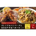 ふるさと納税 ai01041 プレミアムハンバーグと無添加牛丼食べ比べセット 兵庫県淡路市