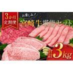 ふるさと納税 K12-21 牛肉≪3か月定期便≫お楽しみ!宮崎牛堪能セット(合計3kg) 宮崎県日南市