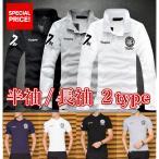春 ポロシャツ メンズ 長袖 ゴルフウェア トップス 黒 白 紺 ブラック ホワイト ネイビー グレー 刺繍