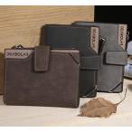 二つ折り 財布 大容量 カード収納 メンズ PU レザー ブラック 無地 薄型 軽量 無地 内側収納 秋