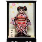 【ひな人形】【市松人形】市松人形;8号市松人形:綸子桜花弁衣裳ケース付【カール】:敏光作【木目込市松人形】【浮世人形】