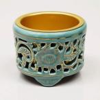 香炉 (お線香立) 仏具 透し香炉 (真宗大谷派・お東用)陶器 金色入 小