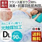 西川 羽毛肌掛け布団 ダブル 日本製 フランス産ダウン90% 消臭 抗菌 ダウンケット 春の羽毛布団
