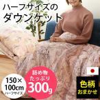 ショッピングひざ掛け 羽毛肌掛け布団 ハーフサイズ ダウン70% ダウンケット 日本製 夏の羽毛布団 肌布団 羽毛ひざ掛け