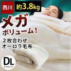 毛布 ダブル 京都西川 オーロラ 2枚合わせ ふっくら超ボリューム マイヤー掛け毛布 ブランケット