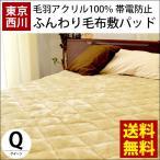 西川 毛布 敷きパッド クイーン アクリル100% 静電気防止 敷パッド 洗えるパッドシーツ