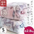 毛布 シングル 昭和西川 衿付きボリューム2枚合わせマイヤー毛布 ボタニカル柄 ウォッシャブル ブランケット
