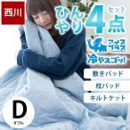 東京西川 ひんやり寝具3点セット ダブル 接触冷感アイスプラス 肌掛け布団 冷感敷きパッド 枕パッド