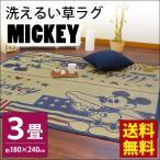 ショッピングい草 ディズニー い草ラグ 3畳 180×240cm 涼感 夏用 洗えるラグマット カーペット ミッキーマウス 西海岸