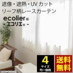 レースカーテン 遮像 遮熱 UVカット リーフ柄 エコプラント 幅100cm 2枚組 カーテン 4サイズ均一価格