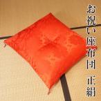 お祝い座布団 祝寿座布団 赤色 正絹 絹100% 日本製