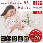 羽毛布団 シングル ホワイトマザーダックダウン95% 日本製 立体キルト 抗菌消臭加工 増量タイプ 1.2kg サラ