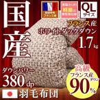 羽毛布団 クイーンサイズ ワイドダブル 日本製 フランス産ホワイトダックダウン90% 380dp以上 愛知県自社工場製造 国産 アコーン
