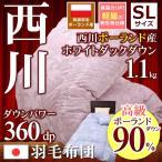 ショッピング西川 羽毛布団 シングル 西川 ポーランド産ホワイトダック ダウン90% 360dp TN814 ジャパ