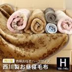 西川 大判ひざ掛け毛布 ハーフサイズ ブランケット 140×100cm マイクロファイバー フランネル 色柄お任せ