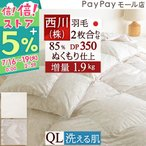 ショッピング西川 羽毛布団 クイーン 1年中 掛け布団 西川 ダウン90% 2枚合わせ 洗えるクィーン