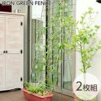 緑のカーテン 日除け 目隠し グリーンフェンス 2枚組 送料無料 トレリス ラティス フェンス 日よけ リーフ ベランダ ガーデン ガーデニング グリーンカーテン