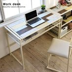木製 デスク ハンドメイド風 幅100cm パソコンデスク PCデスク 学習机 ハイタイプ ワークデスク オフィスデスク つくえ 勉強机 ウッド アイアン製