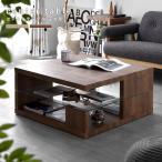 ショッピング正方形 正方形 センターテーブル 80cm×80cm ガラス棚板 強化ガラス 棚付き リビング
