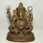 ガネーシャ(聖天、しょうてん)の置物[骨董風古銅色仕上げ]真鍮製 歓喜天(かんぎてん)とも呼ばれるヒンドゥー教の象頭人身の神様