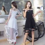 オフショルダー パーティ―ドレス マーメード パーティ― 結婚式 シースルー フィッシュテール 半袖 ブラック ホワイト レッド 黒 白 赤