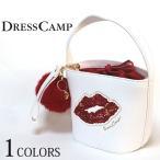 DRESS CAMP ドレスキャンプ SPANGLE スパンコールリップ 2WAYバケットバッグ ホワイト レディース ショルダー