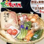【新米出荷】国産 おまかせ 野菜セット A (果物1品+野菜9種類/約4kg)+山形県産 はえぬき(白米/5kg) 野菜詰め合わせ 野菜お米セット お取り寄せ