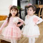 Yahoo!子供ドレスのHUMMING・Kフラワー ブローチ付 長袖 ワンピース 女の子 キッズ ドレス フォーマル お買い得 100 110 120 130 140 115021