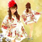着物ドレス ミニ ドレス 花魁 和柄 フリル HK 92751 白
