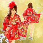 着物ドレス ミニ ドレス 和柄 花魁 フリル HK 92753 赤