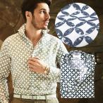 リネンシャツ メンズ カジュアルシャツ 日本製 イタリア生地 リーフ柄 長袖 カッタウエイ ネイビー ベージュ 190663 GALLIPOLI camiceria ガリポリカミチェリア