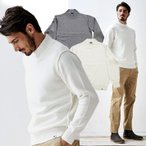 セーター メンズ ニット ウール混 ミドルゲージ モックネック ホワイト グレイ 280702 g-stage ジーステージ