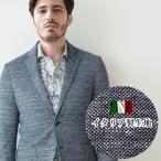 ショッピングイタリア 【イタリア製生地】メランジニットジャージジャケット ネイビー ストレッチ ニット  370200 G-stage(ジーステージ)