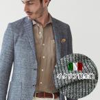 ショッピングイタリア 【イタリア製生地】メランジニットストライプジャージジャケット ネイビー ストレッチ ニット 370207 G-stage(ジーステージ)