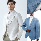 ショッピング麻 メンズ ジャケット 麻100% バックプリント ベージュ ネイビー リネン 麻 580206 G-stage ジーステージ