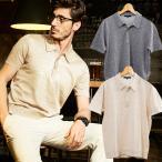 ポロシャツ メンズ 父の日 半袖 綿麻 ニット ベージュ グレー ネイビー 580702 g-stage ジーステージ ゴルフウェア