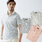 ポロシャツ メンズ 父の日 スキッパー 花柄 ジャージ素材 581505 g-stage ジーステージ ゴルフウェア