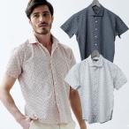 ショッピング半袖 半袖シャツ 花柄 リップル加工 夏シャツ   ホワイト 581601 G-stage(ジーステージ)