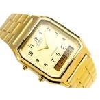 CASIO ANA-DIGI 海外専売モデル カシオ ユニセックス アナデジ腕時計 ライトゴールドダイアル ステンレスベルト AQ-230GA-9BMP