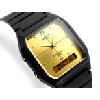 ショッピングCASIO CASIO ANA-DIGI アナデジ ユニセックス腕時計 ゴールドダイアル ウレタンベルト AW-48HE-9AV