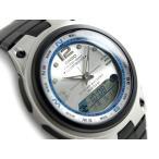 CASIO ANA-DIGI   アナデジ フィッシングギア・ムーングラフ機能搭載 メンズ腕時計 シルバー×ブルーダイアル ブラックウレタンベルト AW-82-7AVDF