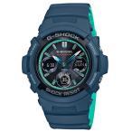 ショッピングShock G-SHOCK Gショック ジーショック カシオ CASIO アナデジ 腕時計 電波 ネイビー ターコイズブルー AWG-M100SCC-2AJF 国内正規モデル