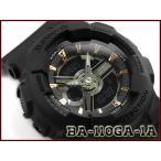 ショッピングCASIO CASIO BABY-G 逆輸入海外モデル カシオ ベビーG アナデジ 腕時計 マット ブラック ゴールド BA-110GA-1AER BA-110GA-1A