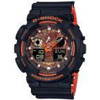 ショッピングShock G-SHOCK Gショック ジーショック BRIGHT ORANGE COLOR カシオ CASIO アナデジ 腕時計 ブラック オレンジ GA-100BR-1AJF 国内正規モデル