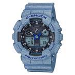 ショッピングShock G-SHOCK Gショック ジーショック DENIM'D COLOR デニムドカラー 限定モデル カシオ CASIO アナデジ 腕時計 ネイビー ブルー GA-100DE-2AJF 国内正規モデル