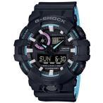 ショッピングShock G-SHOCK Gショック ジーショック ネオンアクセントカラー カシオ CASIO アナデジ 腕時計 ブルー ブラック GA-700PC-1AJF 国内正規モデル