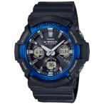 ショッピングShock G-SHOCK Gショック ジーショック カシオ CASIO 電波ソーラー アナデジ 腕時計 ブルー ブラック GAW-100B-1A2JF 国内正規モデル