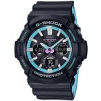 ショッピングShock G-SHOCK Gショック ジーショック ネオンアクセントカラー カシオ CASIO 電波ソーラー アナデジ 腕時計 ブルー ブラック GAW-100PC-1AJF 国内正規モデル